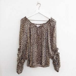 Parker Animal Print Silk Ruffle Long Sleeve Blouse